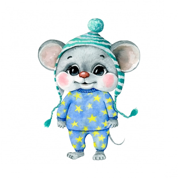 Watercolor illustration of a cute cartoon mouse boy in blue pajamas with yellow stars and a hat Premium Vector