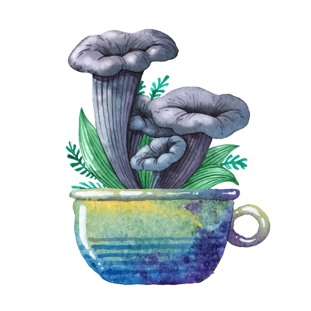 Акварельная иллюстрация. съедобный гриб. Premium векторы