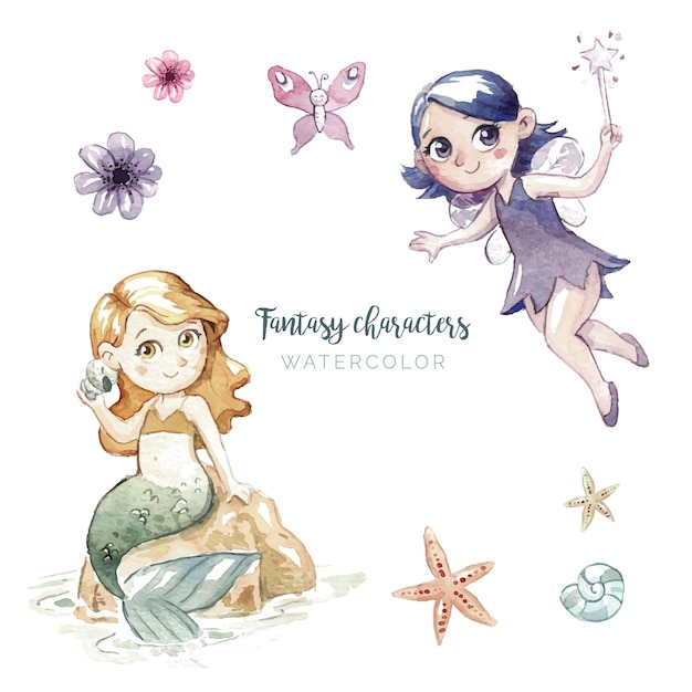 Watercolor illustration of fantasy characters Free Vector