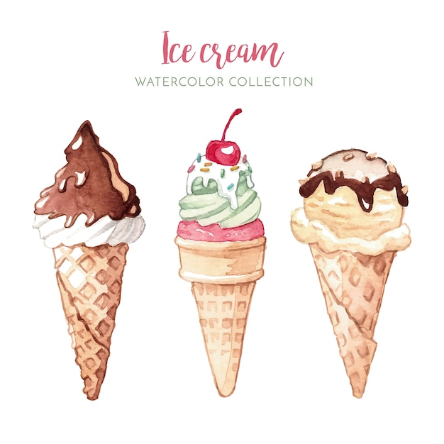 Watercolor illustration of ice cream Free Vector