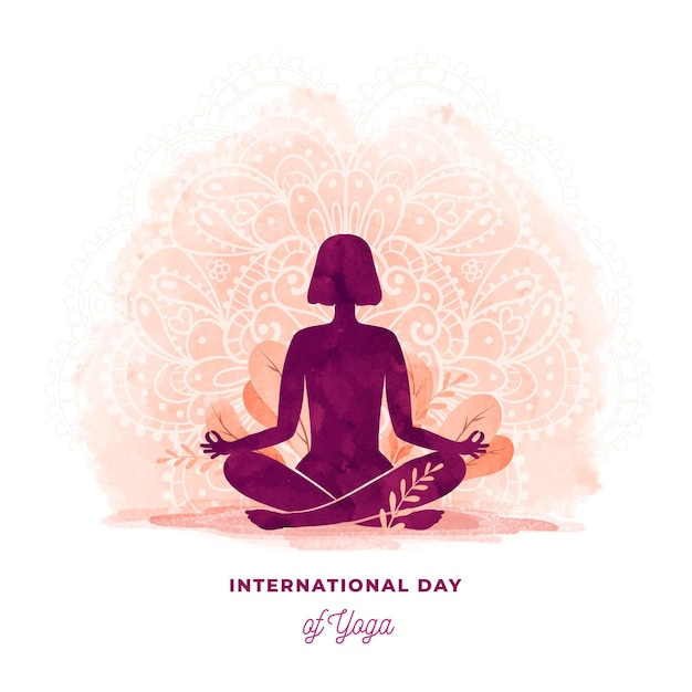 Watercolor illustration of international day of yoga Premium Vector