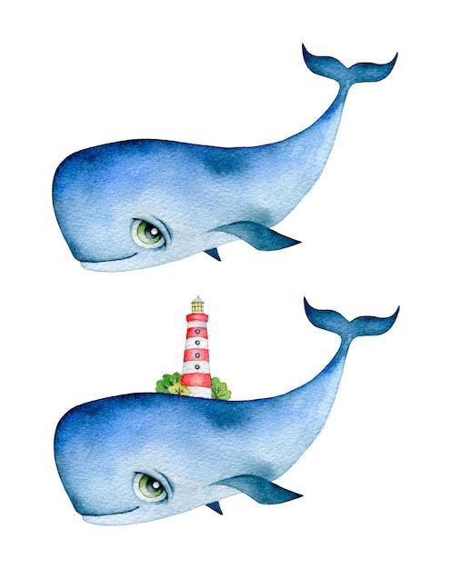 大きな目と彼の背中に灯台とかわいい漫画シロナガスクジラの水彩イラスト Premiumベクター