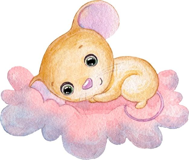 ピンクの雲の上で眠っているかわいい小さなマウスの水彩イラスト Premiumベクター
