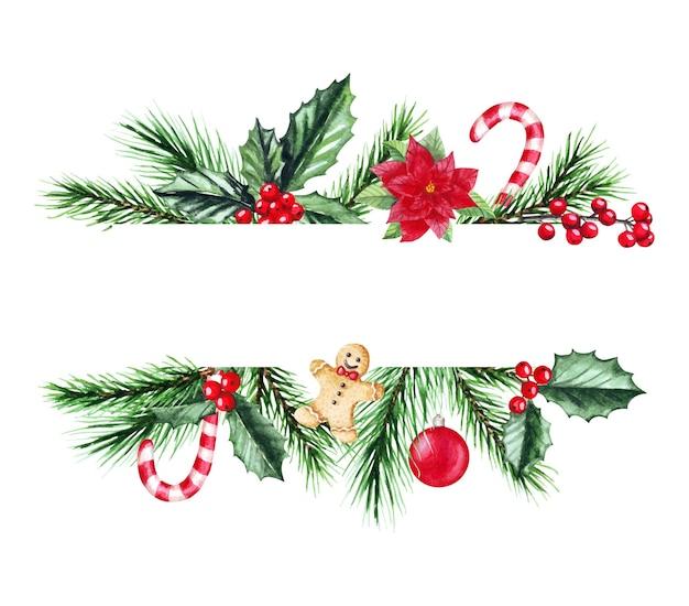 Акварельные иллюстрации новогодняя рамка с еловыми ветками. веселого рождества и счастливого нового года. Premium векторы