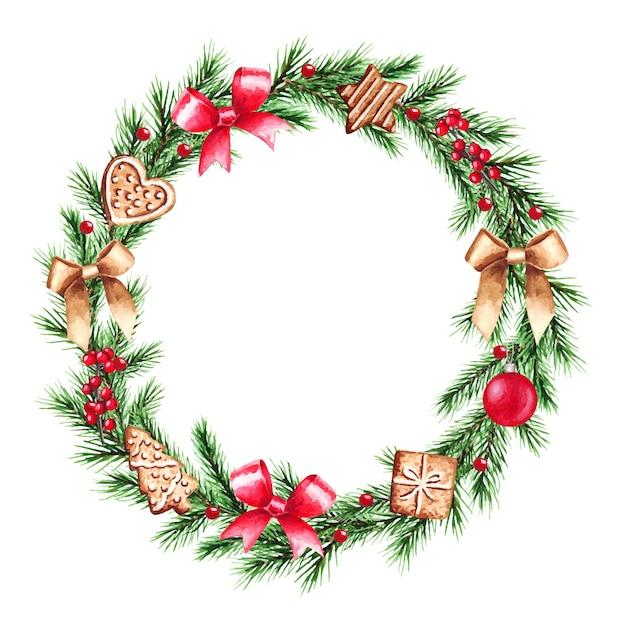 Акварельные иллюстрации рождественский венок с еловыми ветками. веселого рождества и счастливого нового года. Premium векторы