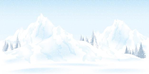 Акварель иллюстрация зимних гор пейзаж. Premium векторы