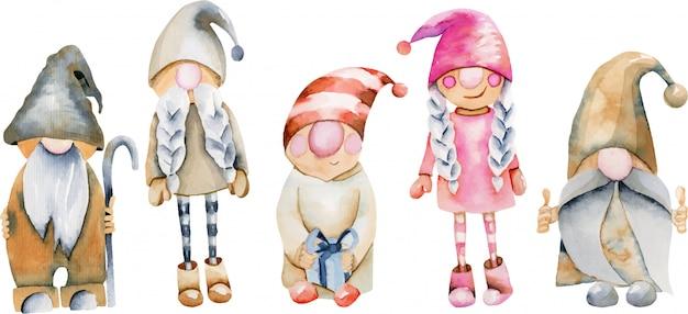 Watercolor illustration of scandinavian trolls, christmas gnomes Premium Vector