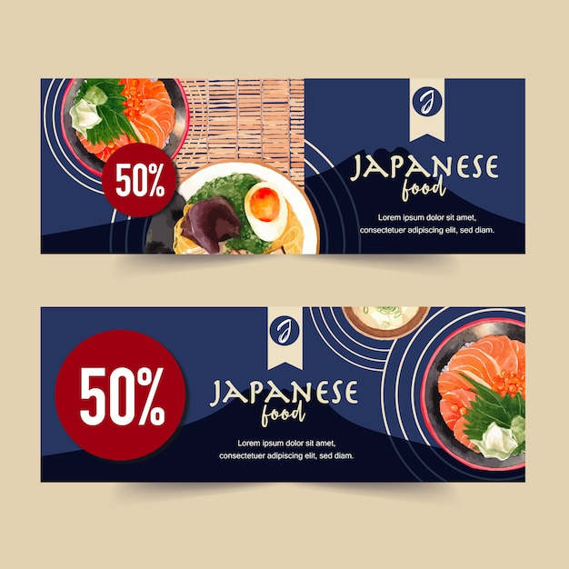 Watercolor illustration with creative sushi-themed  for banners, advertisement and leaflet. Free Vector