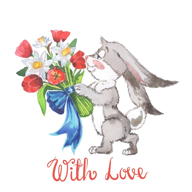 Watercolor illustration with little bunny and tulips and leaves Premium Vector