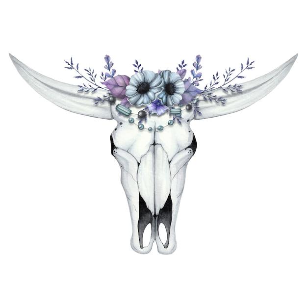 Акварельная иллюстрация с черепом буйвола и цветочным венком Premium векторы