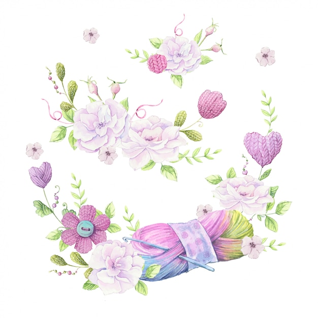 Watercolor illustration of a wreath of a bouquet of wild roses of pale pink color and accessories for knitting needlework Premium Vector