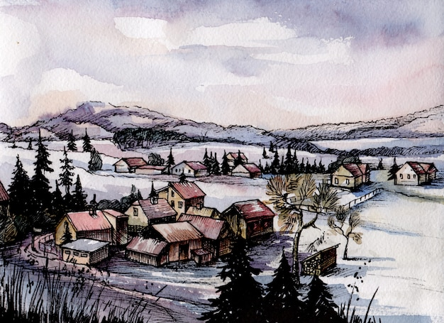 Watercolor image of winter landscape with finland village. Premium Vector