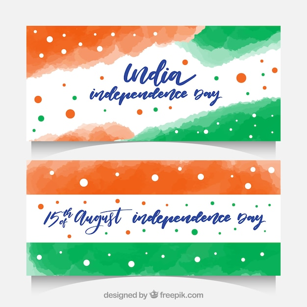 Watercolor india independence banners