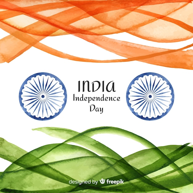Watercolor india independence day background Free Vector