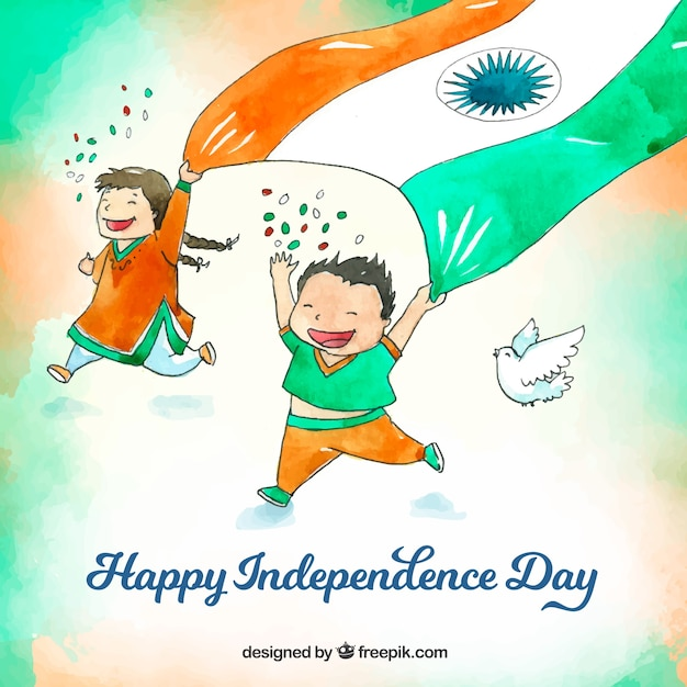 Watercolor indian independence day background with happy kids Free Vector