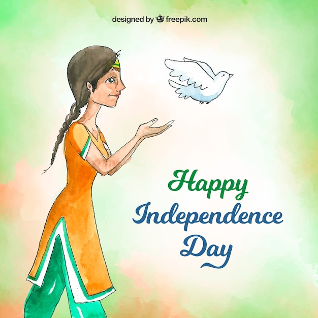 Watercolor indian independence day background with pigeon Free Vector