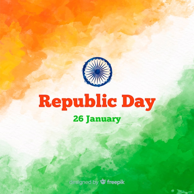 Watercolor indian republic day background Free Vector