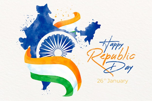 Watercolor indian republic day with map and flag Free Vector