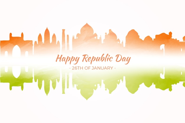 Watercolor indian republic day Free Vector
