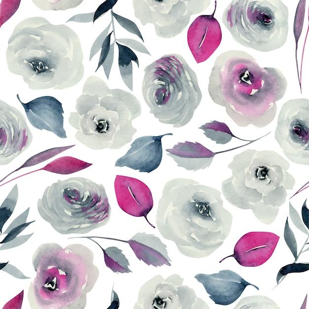 Watercolor indigo and crimson roses seamless pattern, hand drawn Premium Vector