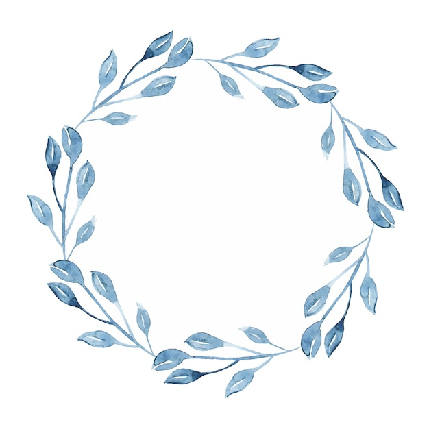 Watercolor indigo floral wreath with twig, branch and abstract leaves Free Vector