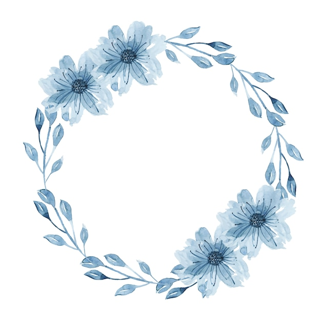 Watercolor indigo floral wreath with twig, flowers, branch and abstract leaves Free Vector
