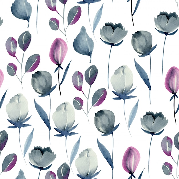 Watercolor indigo flowers seamless pattern Premium Vector