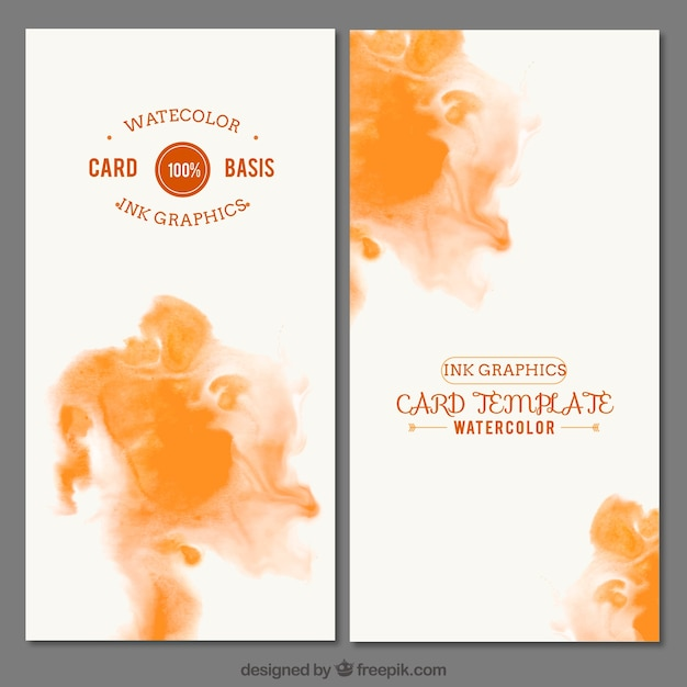 Watercolor ink card template Vector | Free Download