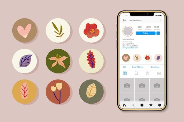 Collezione di punti salienti di instagram dell'acquerello Vettore gratuito
