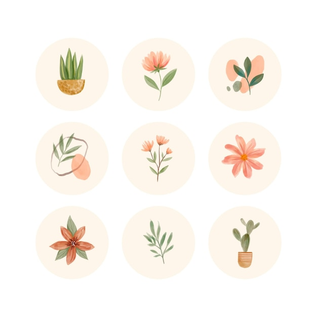 Watercolor instagram highlights collection Free Vector