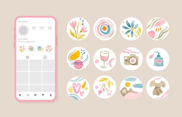 Collezione di highlight di instagram dell'acquerello Vettore gratuito