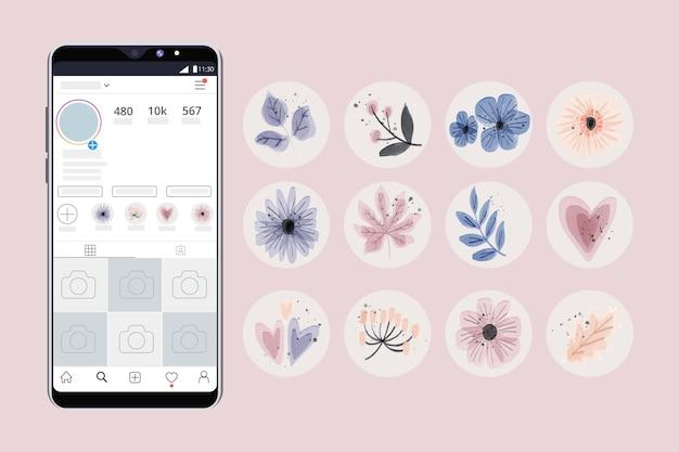 Watercolor instagram highlights set Premium Vector
