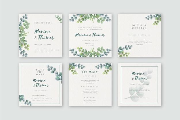 Акварельная коллекция сообщений instagram для свадьбы Premium векторы