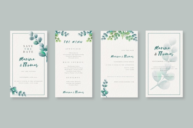 Watercolor instagram stories collection for wedding Premium Vector