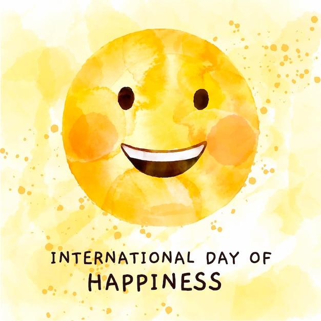 Illustrazione dell'acquerello giornata internazionale della felicità Vettore gratuito