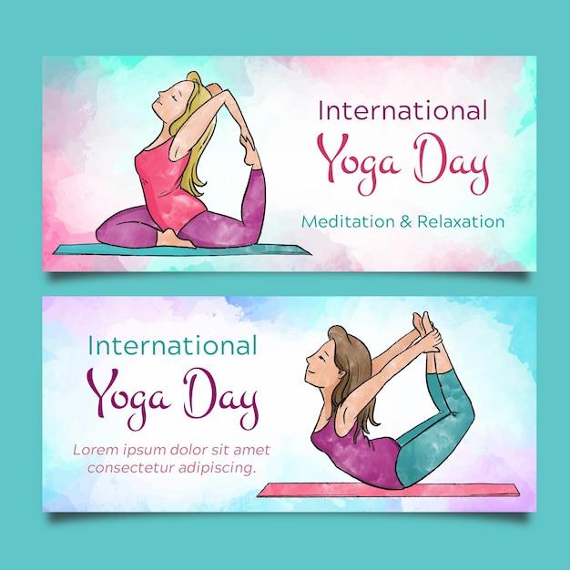 Акварель международный день баннеров йоги Бесплатные векторы