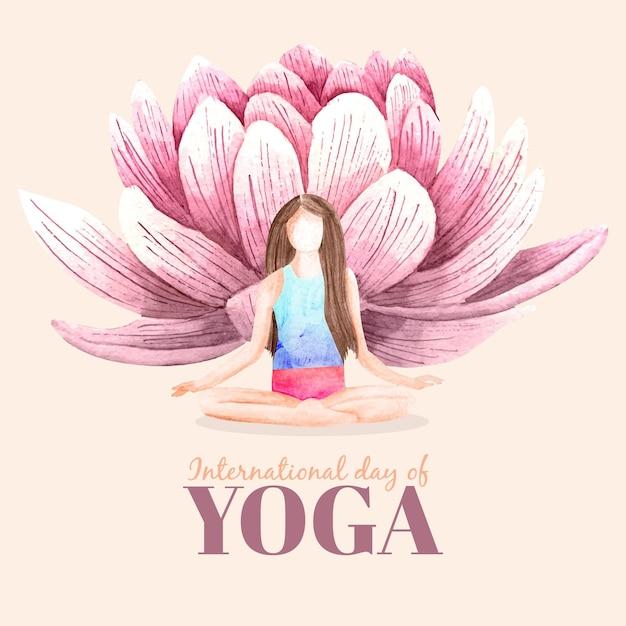 Акварель международный день йоги Бесплатные векторы