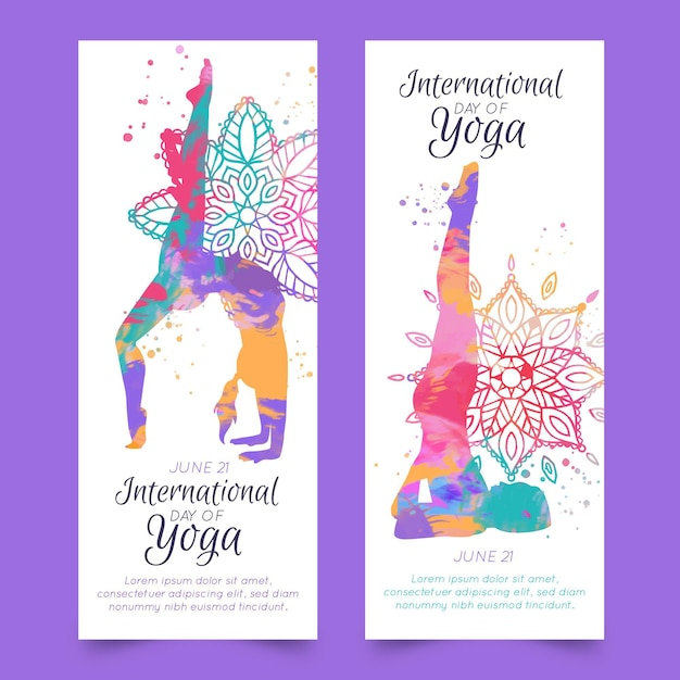 Watercolor international day of yoga banner Free Vector