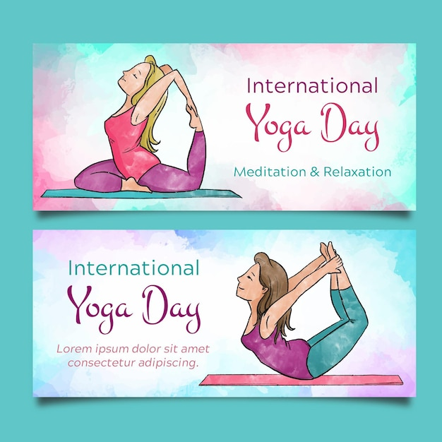 Watercolor international day of yoga banners Premium Vector