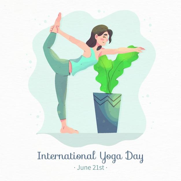 Watercolor international day of yoga illustration Free Vector