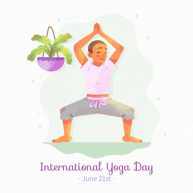 Watercolor international day of yoga with man Free Vector
