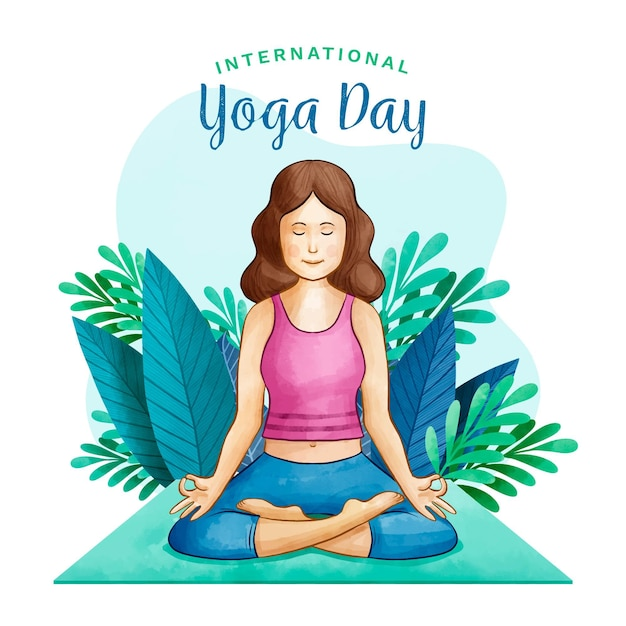 Watercolor international day of yoga with woman and leaves Premium Vector