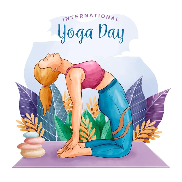 Watercolor international day of yoga with woman and rocks Premium Vector