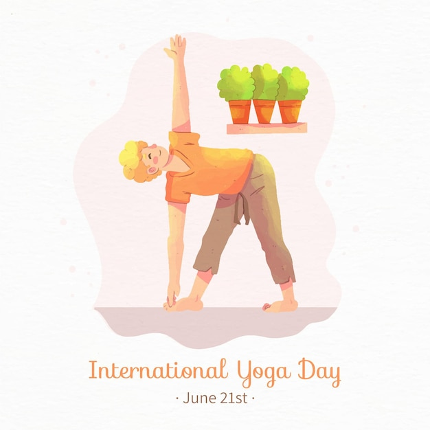 Watercolor international day of yoga with woman Free Vector