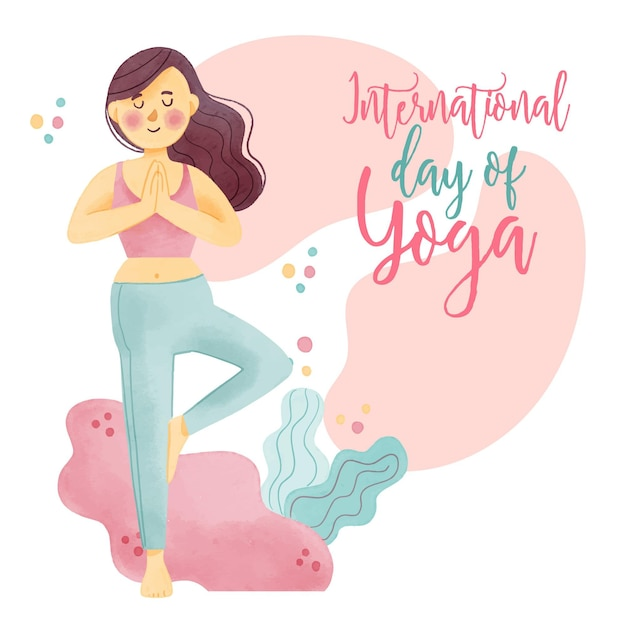 Watercolor international day of yoga Free Vector