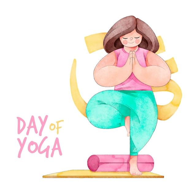 Giornata internazionale dell'acquerello di yoga Vettore gratuito