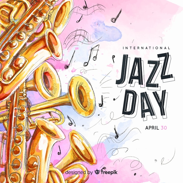 Watercolor international jazz day background Free Vector