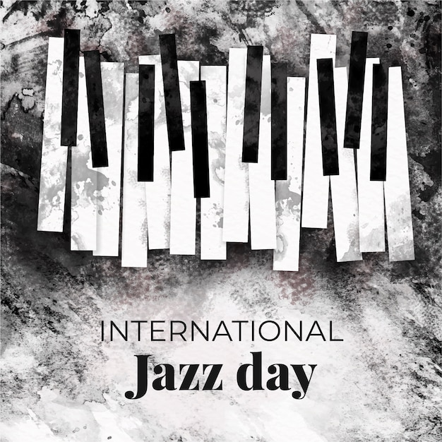 Акварельный международный день джаза Бесплатные векторы