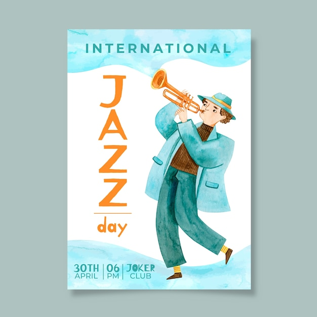 Watercolor international jazz day flyer template Free Vector