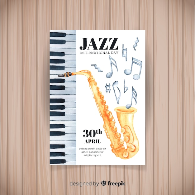 Watercolor international jazz day poster template Free Vector